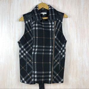 Cabi Black Plaid Belt Tie Grid Vest Wool Jacket